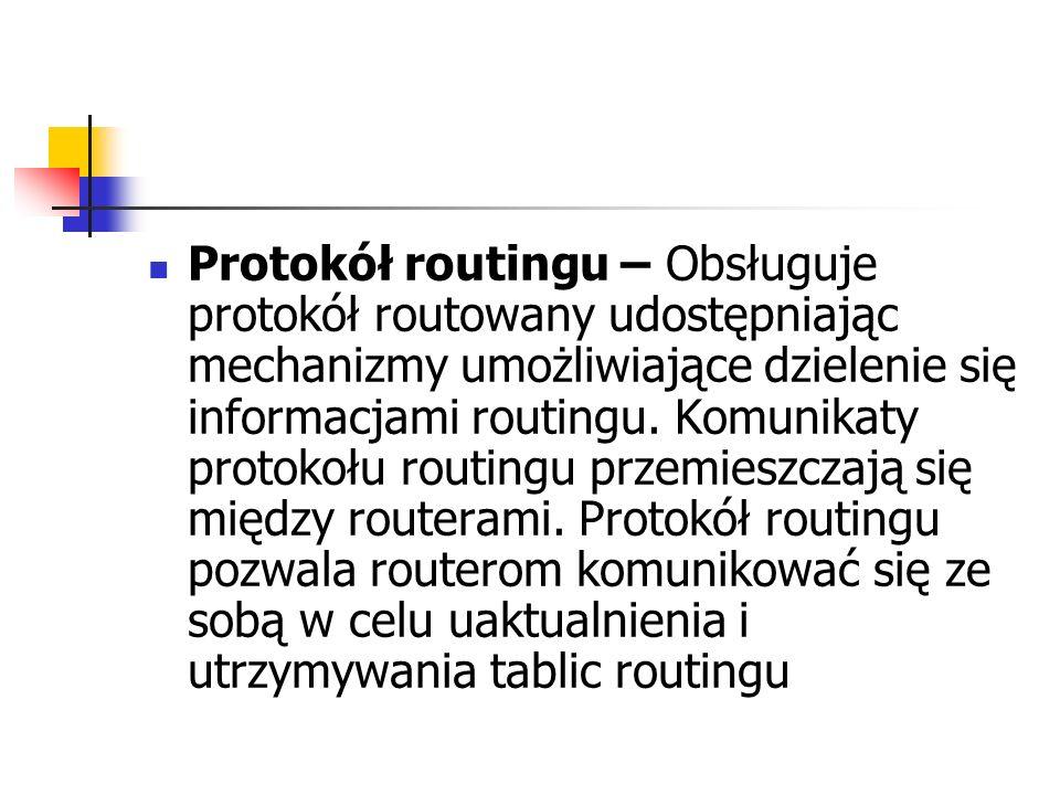 Protokół routingu – Obsługuje protokół routowany udostępniając mechanizmy umożliwiające dzielenie się informacjami routingu.