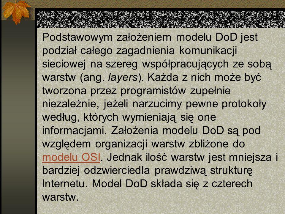 Podstawowym założeniem modelu DoD jest podział całego zagadnienia komunikacji sieciowej na szereg współpracujących ze sobą warstw (ang.