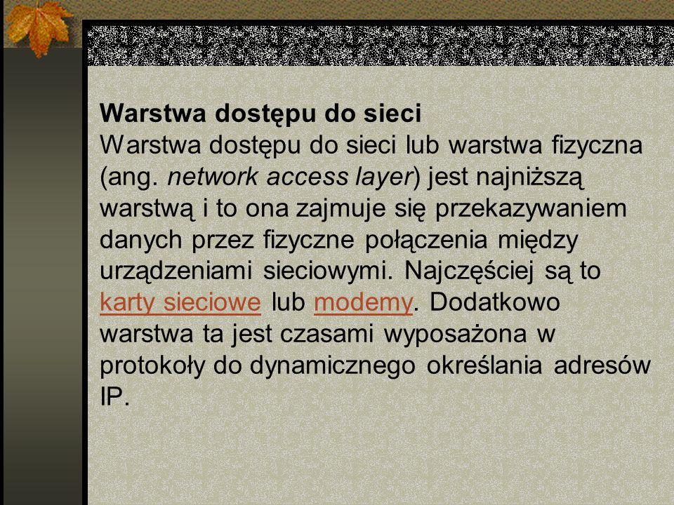 Warstwa dostępu do sieci Warstwa dostępu do sieci lub warstwa fizyczna (ang.