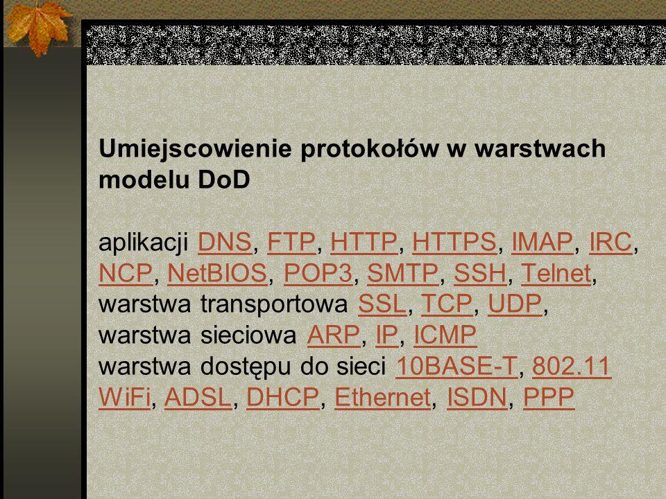 Umiejscowienie protokołów w warstwach modelu DoD aplikacji DNS, FTP, HTTP, HTTPS, IMAP, IRC, NCP, NetBIOS, POP3, SMTP, SSH, Telnet, warstwa transportowa SSL, TCP, UDP, warstwa sieciowa ARP, IP, ICMP warstwa dostępu do sieci 10BASE-T, 802.11 WiFi, ADSL, DHCP, Ethernet, ISDN, PPP