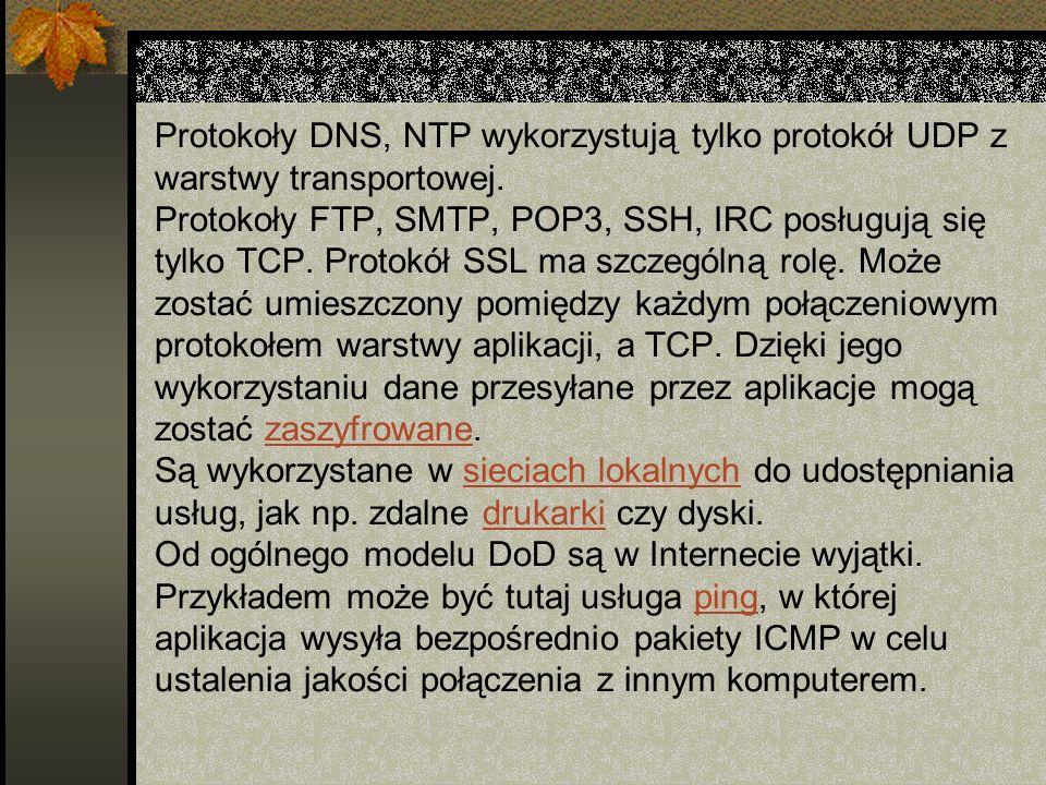 Protokoły DNS, NTP wykorzystują tylko protokół UDP z warstwy transportowej.