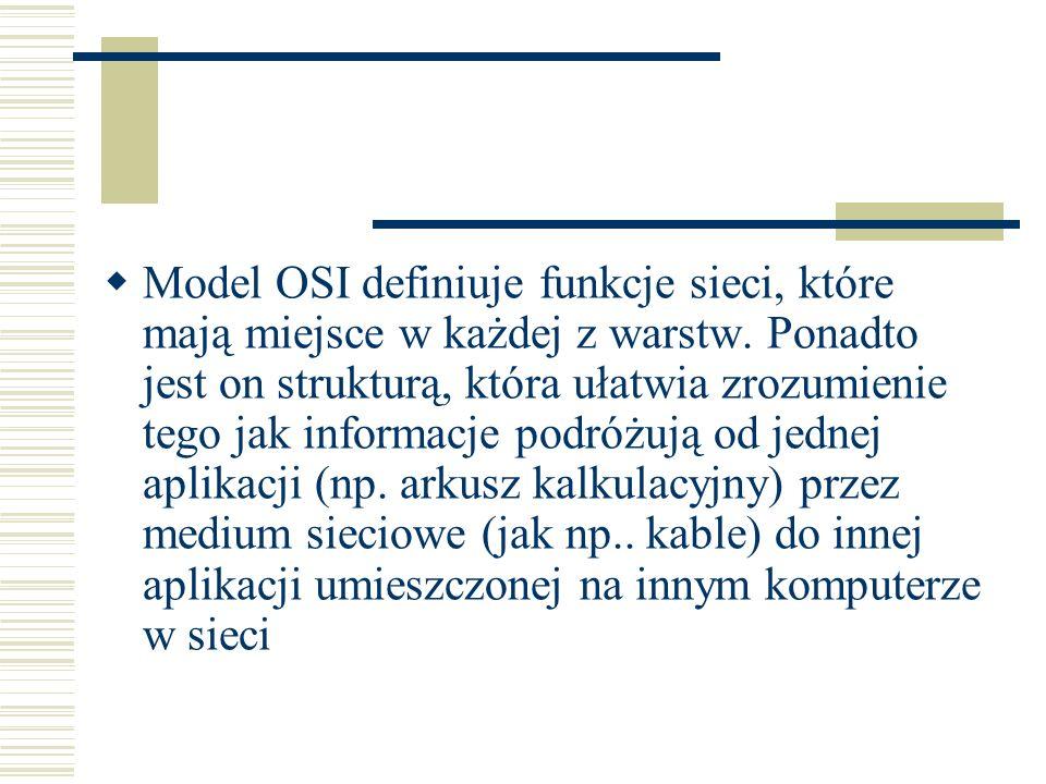 Model OSI definiuje funkcje sieci, które mają miejsce w każdej z warstw.