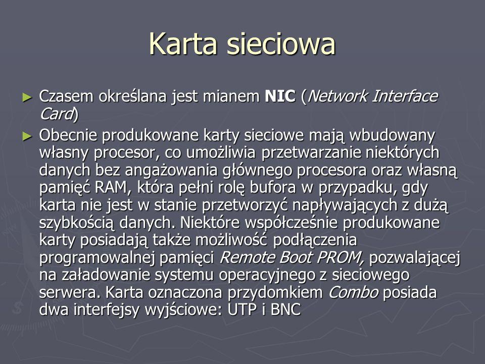 Karta sieciowaCzasem określana jest mianem NIC (Network Interface Card)
