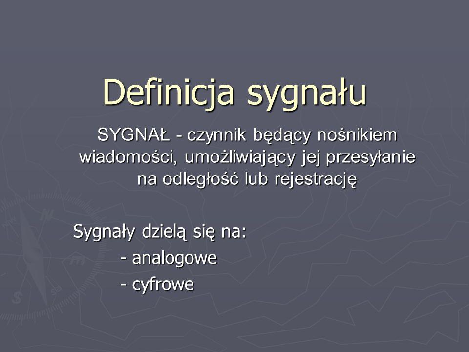 Definicja sygnałuSYGNAŁ - czynnik będący nośnikiem wiadomości, umożliwiający jej przesyłanie na odległość lub rejestrację.