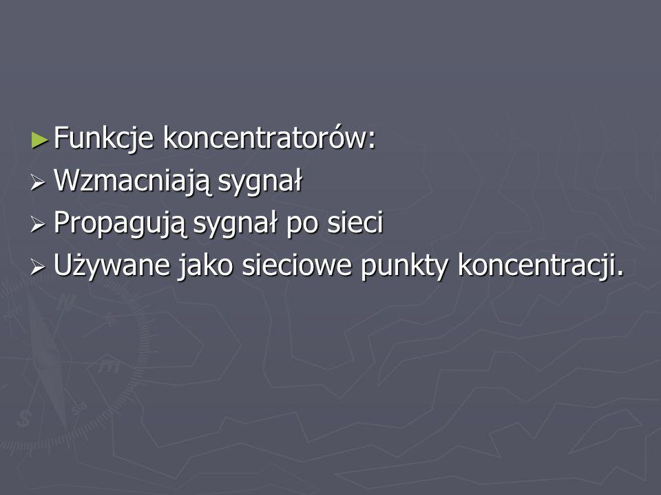Funkcje koncentratorów: