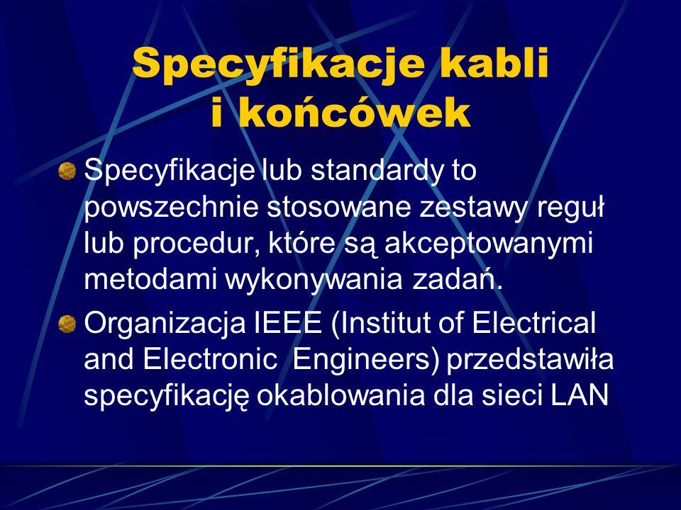 Specyfikacje kabli i końcówek