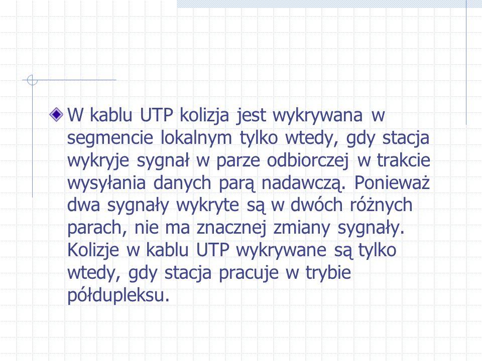 W kablu UTP kolizja jest wykrywana w segmencie lokalnym tylko wtedy, gdy stacja wykryje sygnał w parze odbiorczej w trakcie wysyłania danych parą nadawczą.