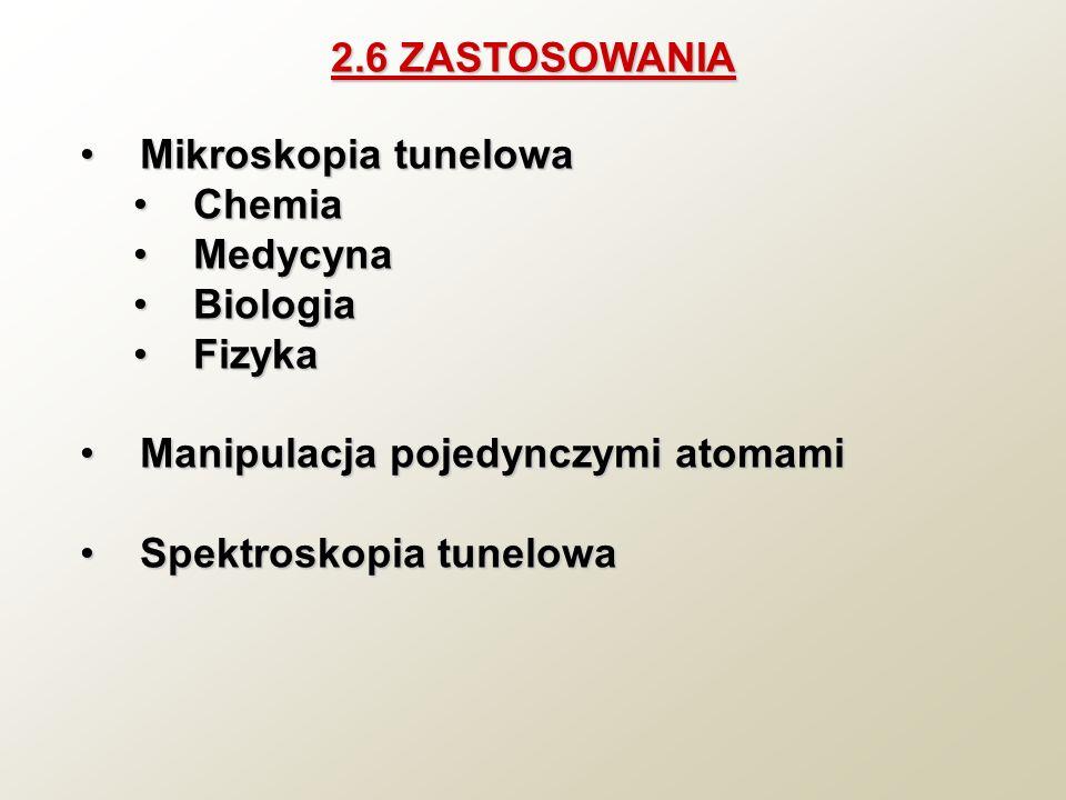 2.6 ZASTOSOWANIA Mikroskopia tunelowa. Chemia. Medycyna. Biologia. Fizyka. Manipulacja pojedynczymi atomami.