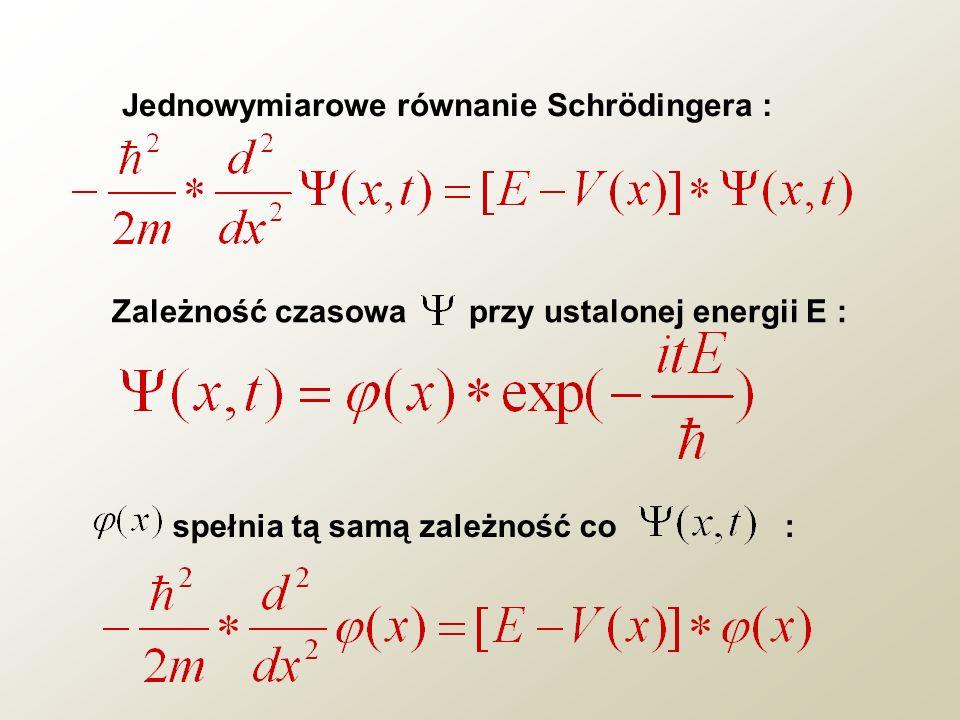 Jednowymiarowe równanie Schrödingera :