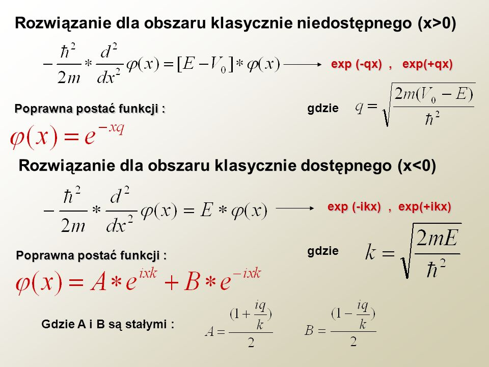 Rozwiązanie dla obszaru klasycznie niedostępnego (x>0)