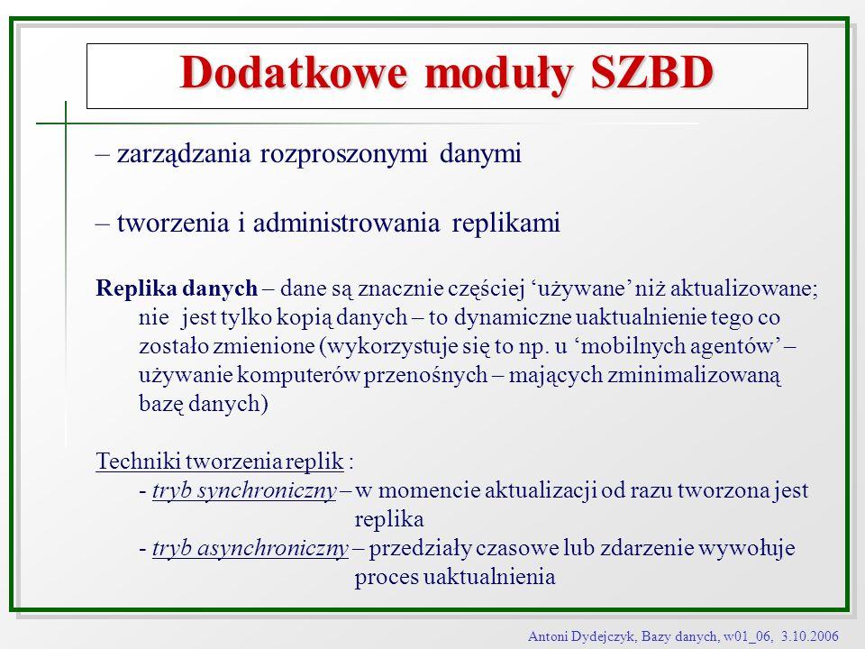 Dodatkowe moduły SZBD – zarządzania rozproszonymi danymi