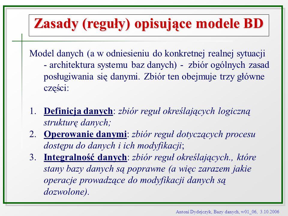 Zasady (reguły) opisujące modele BD