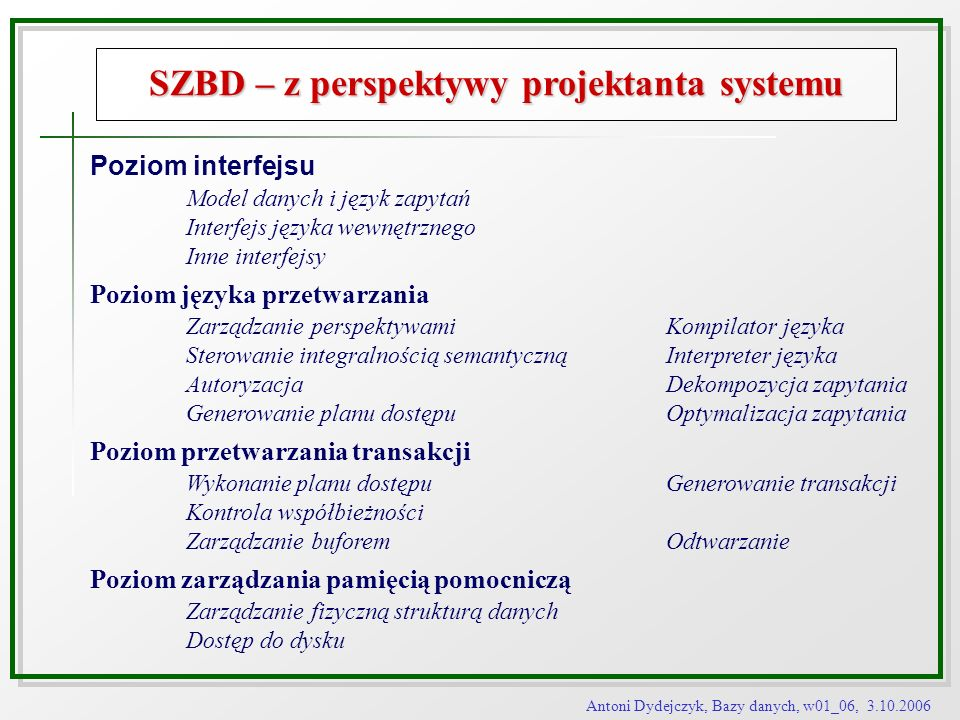 SZBD – z perspektywy projektanta systemu