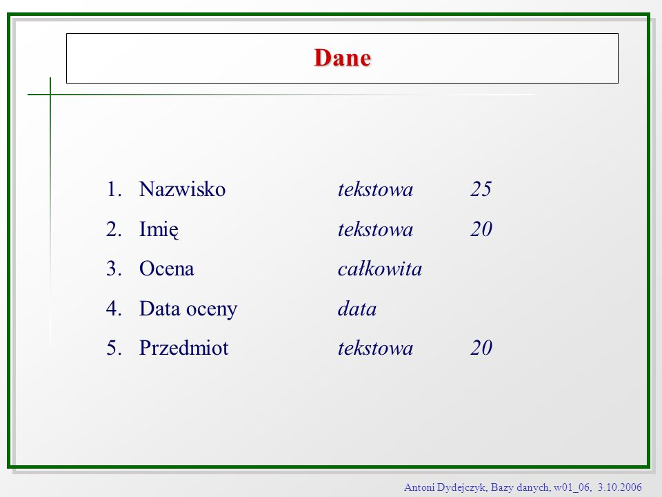 Dane Nazwisko tekstowa 25 Imię tekstowa 20 Ocena całkowita