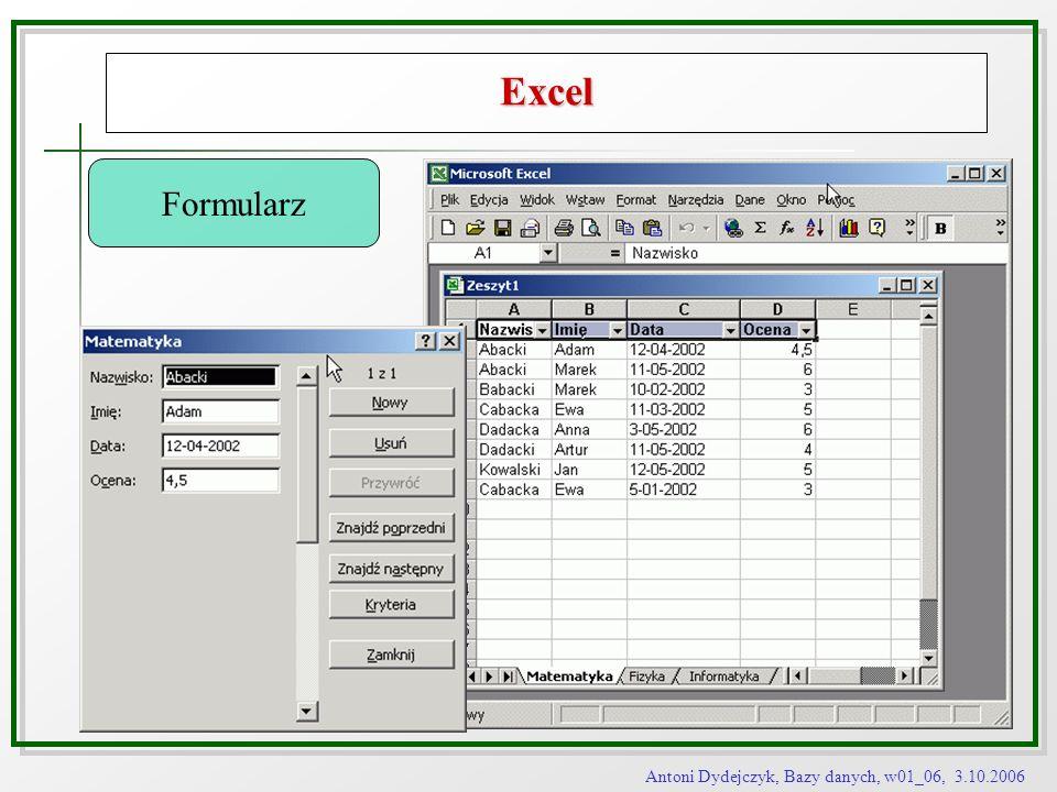 Excel Formularz