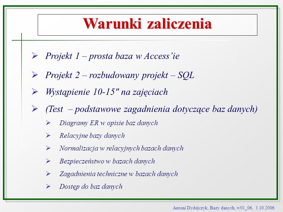 Warunki zaliczenia Projekt 1 – prosta baza w Access'ie
