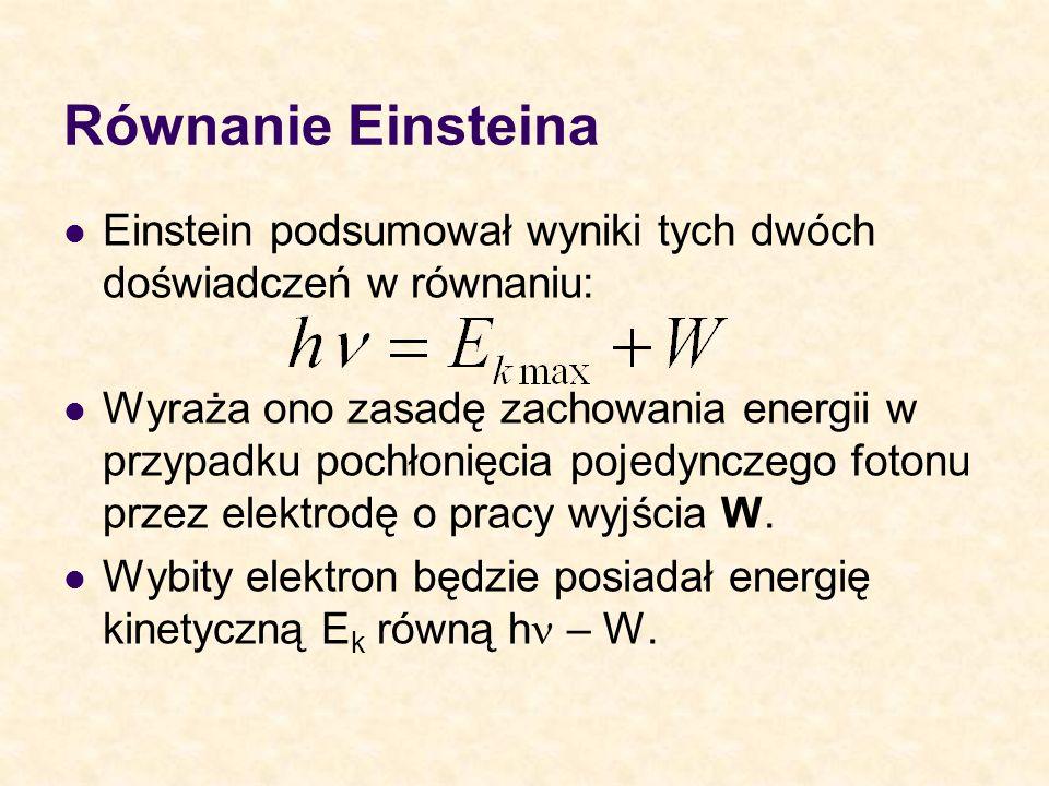 Równanie EinsteinaEinstein podsumował wyniki tych dwóch doświadczeń w równaniu: