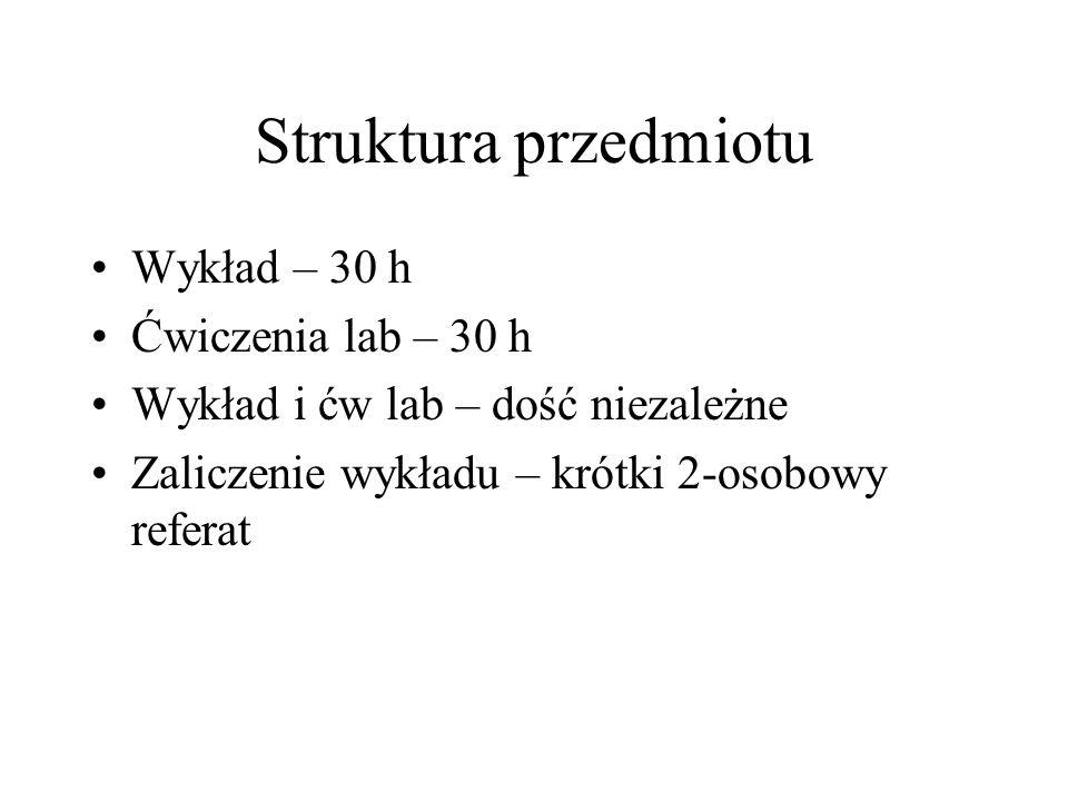 Struktura przedmiotu Wykład – 30 h Ćwiczenia lab – 30 h