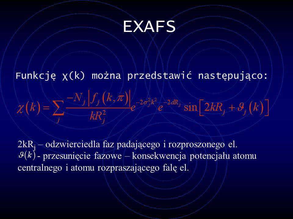 EXAFS Funkcję χ(k) można przedstawić następująco: