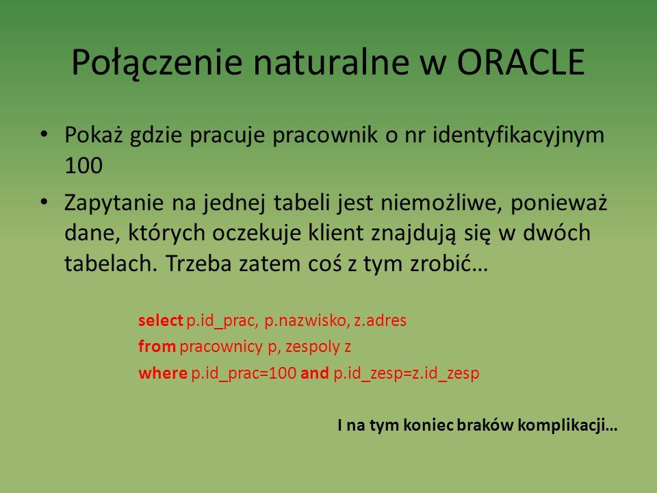 Połączenie naturalne w ORACLE