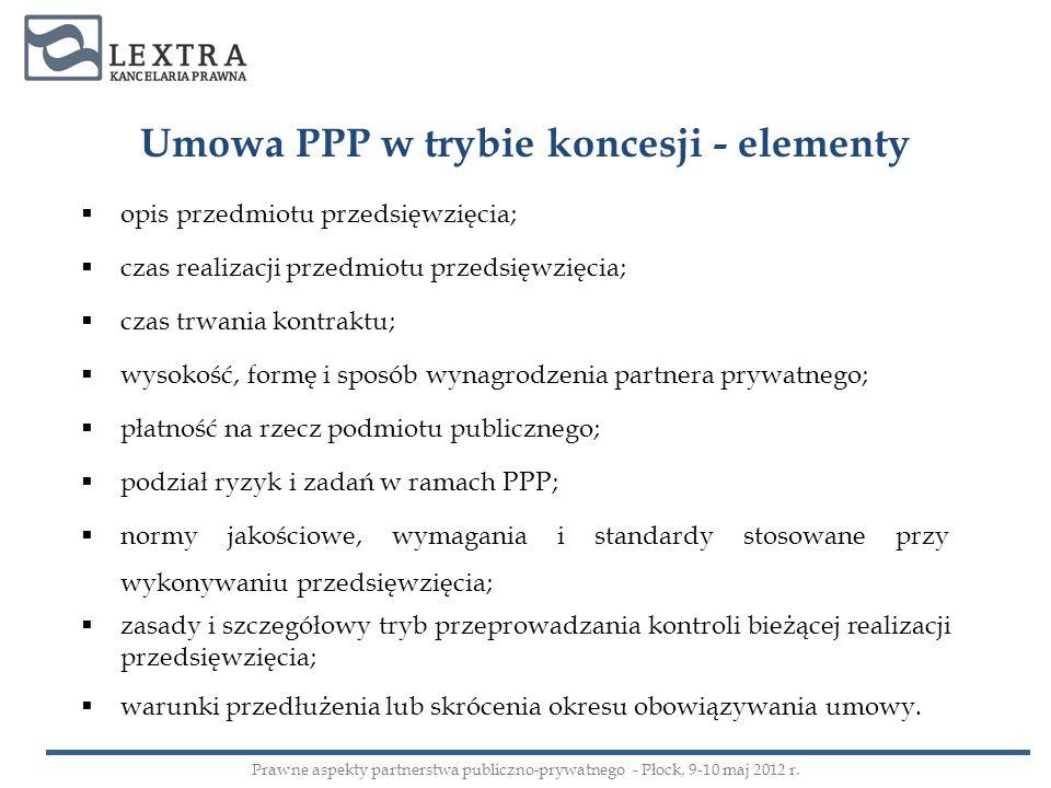 Umowa PPP w trybie koncesji - elementy