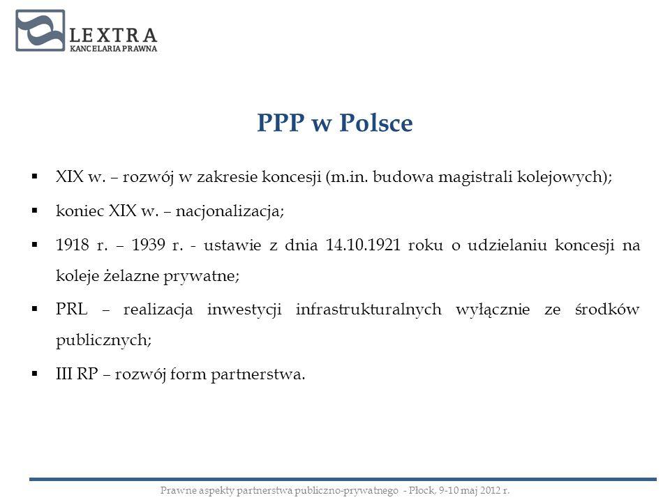 PPP w Polsce XIX w. – rozwój w zakresie koncesji (m.in. budowa magistrali kolejowych); koniec XIX w. – nacjonalizacja;