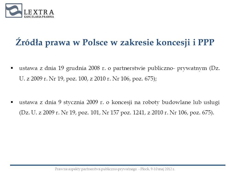 Źródła prawa w Polsce w zakresie koncesji i PPP