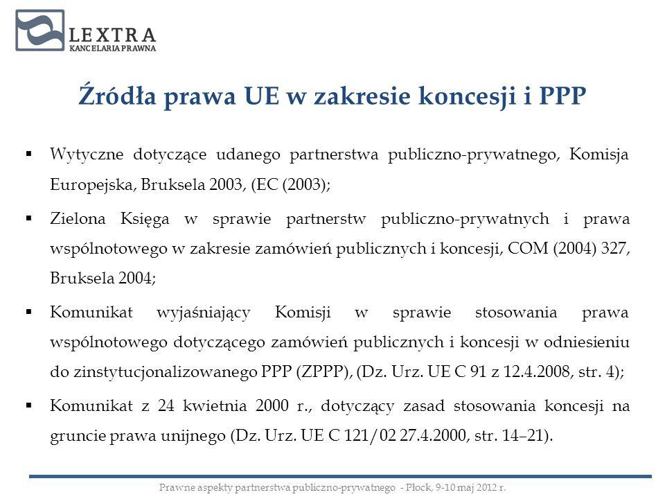 Źródła prawa UE w zakresie koncesji i PPP