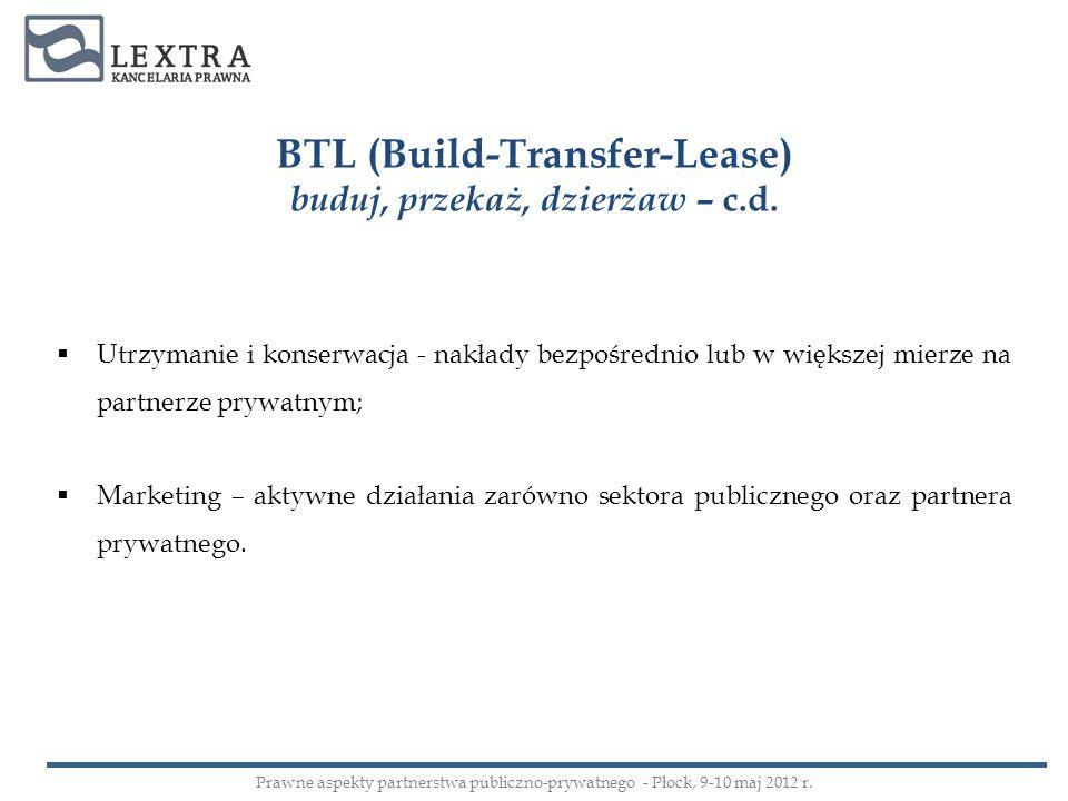 BTL (Build-Transfer-Lease) buduj, przekaż, dzierżaw – c.d.