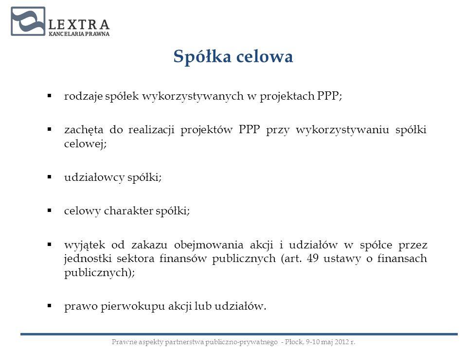Spółka celowa rodzaje spółek wykorzystywanych w projektach PPP;