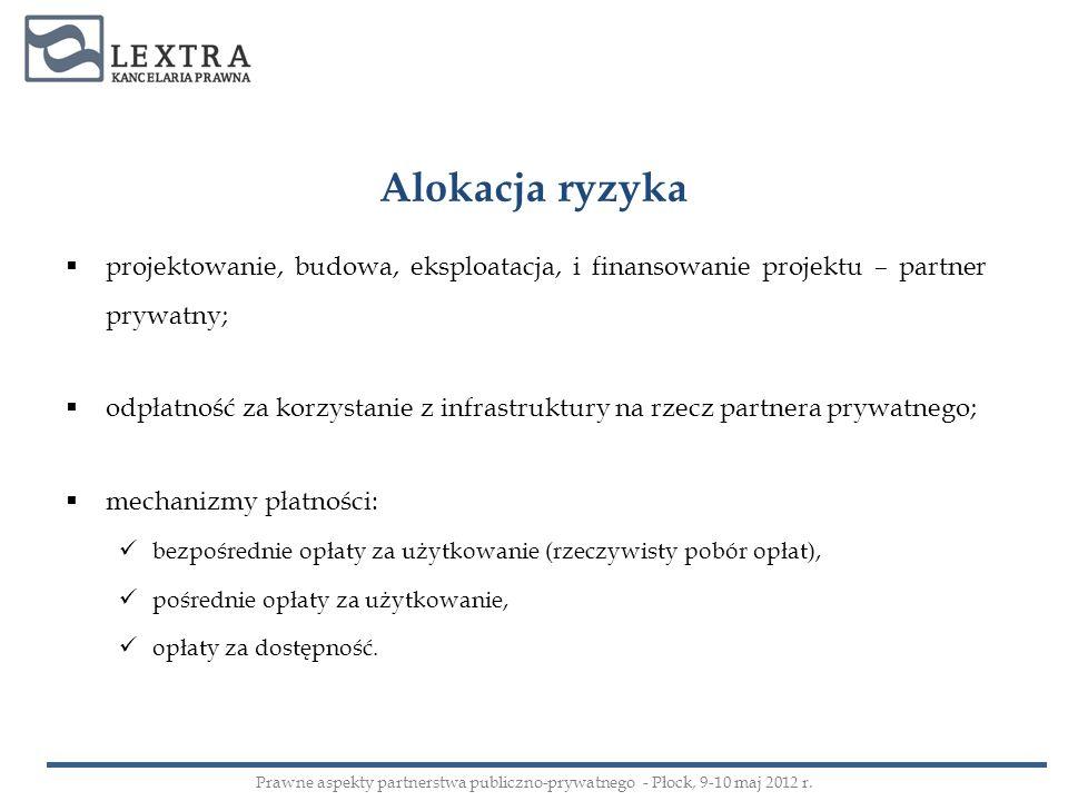 Alokacja ryzykaprojektowanie, budowa, eksploatacja, i finansowanie projektu – partner prywatny;