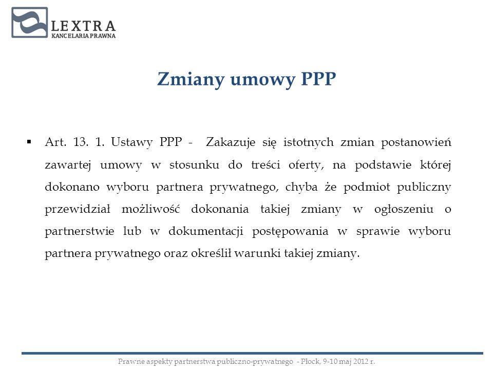 Zmiany umowy PPP