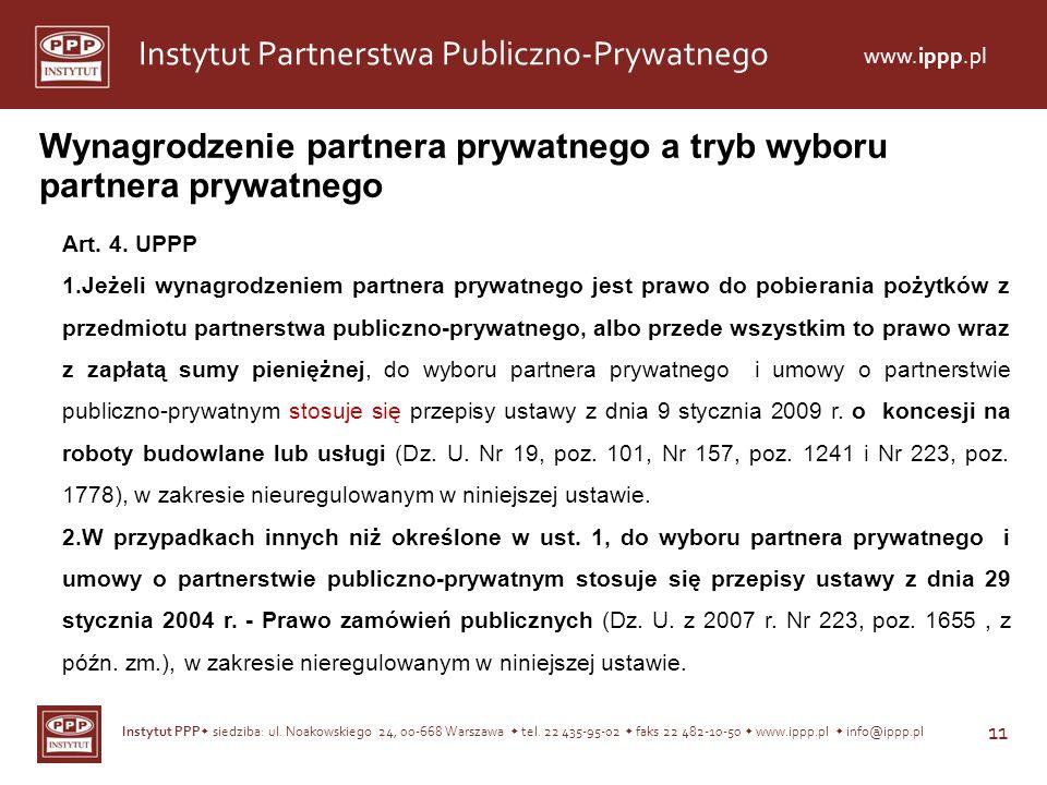 Wynagrodzenie partnera prywatnego a tryb wyboru partnera prywatnego