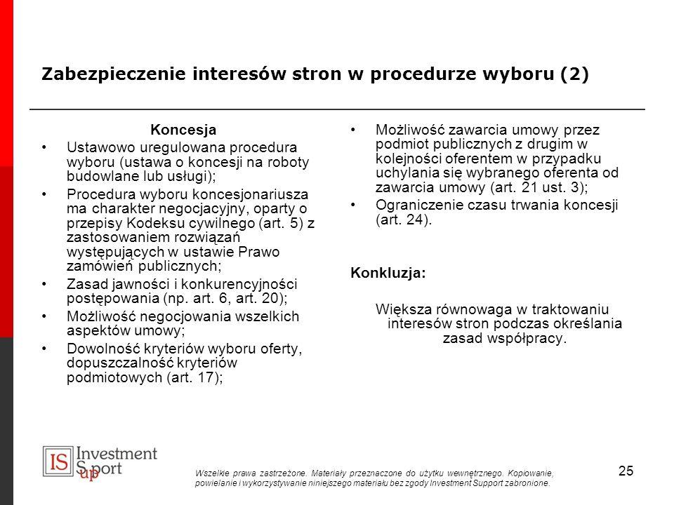 Zabezpieczenie interesów stron w procedurze wyboru (2)
