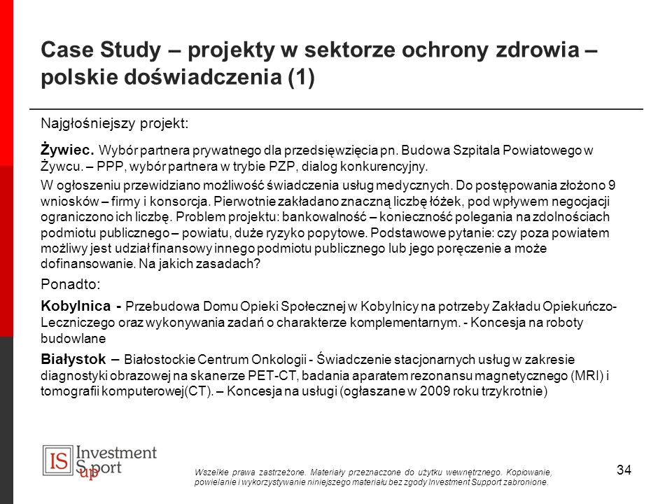Case Study – projekty w sektorze ochrony zdrowia – polskie doświadczenia (1)