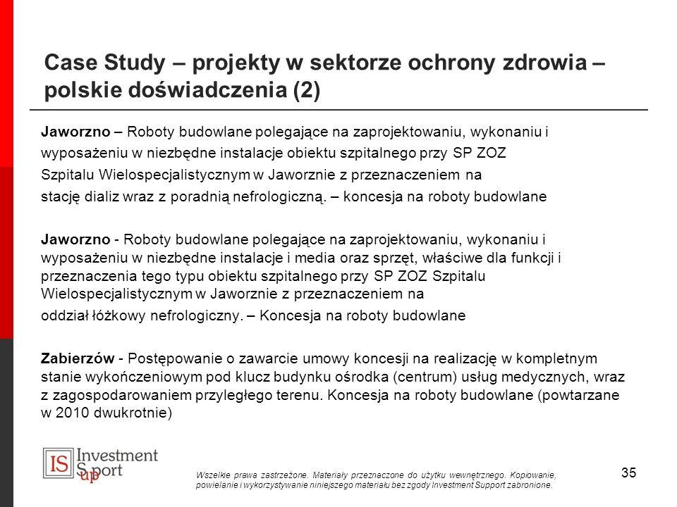 Case Study – projekty w sektorze ochrony zdrowia – polskie doświadczenia (2)