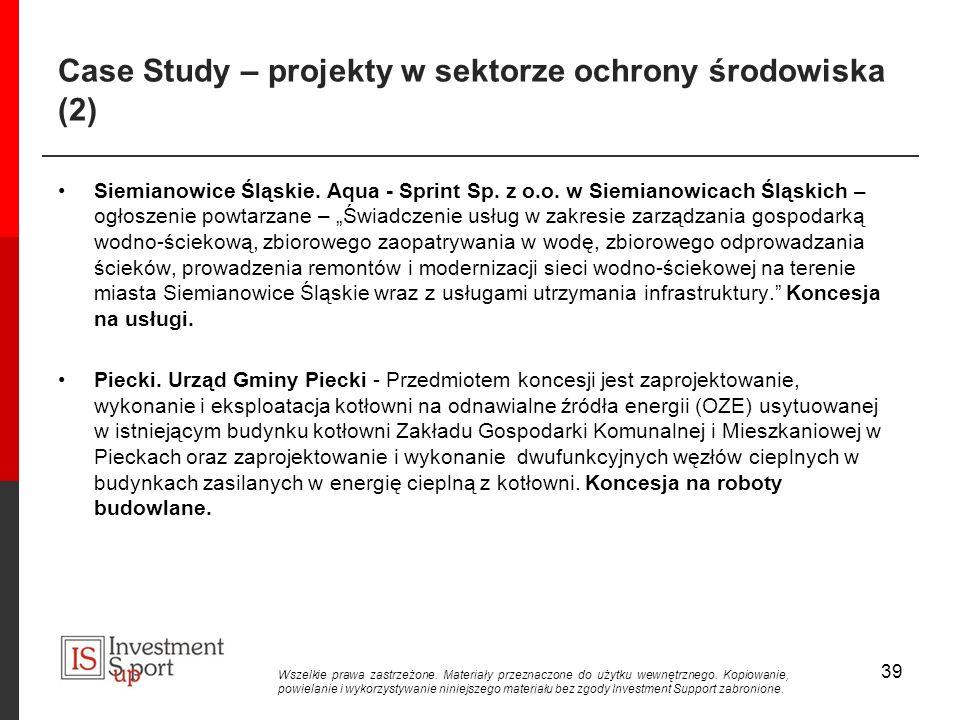 Case Study – projekty w sektorze ochrony środowiska (2)