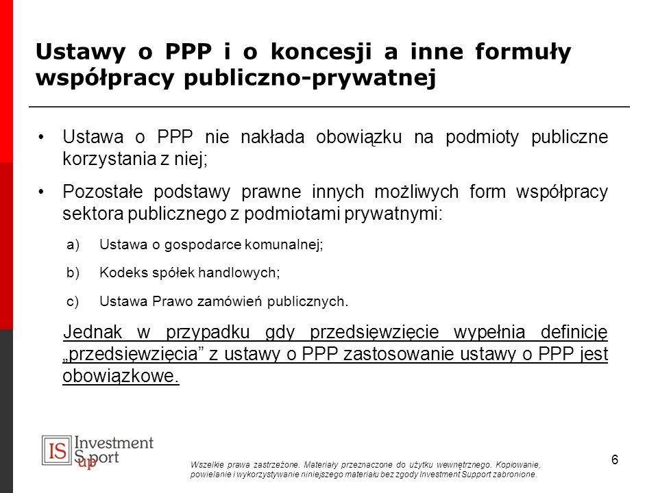 Ustawy o PPP i o koncesji a inne formuły współpracy publiczno-prywatnej