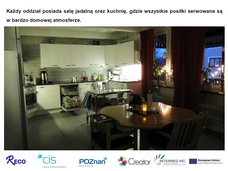 Każdy oddział posiada salę jadalną oraz kuchnię, gdzie wszystkie posiłki serwowane są w bardzo domowej atmosferze.