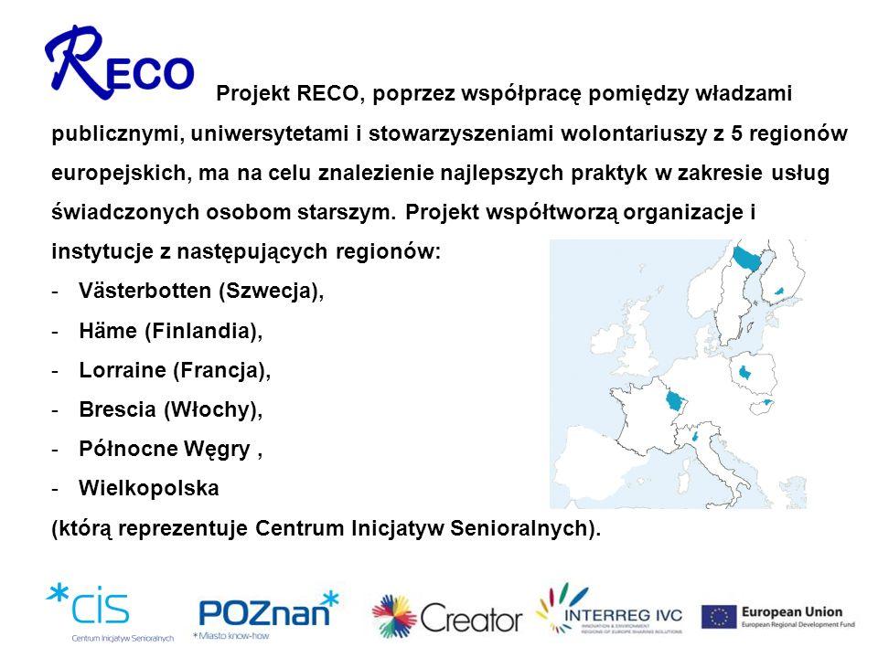 Projekt RECO, poprzez współpracę pomiędzy władzami publicznymi, uniwersytetami i stowarzyszeniami wolontariuszy z 5 regionów europejskich, ma na celu znalezienie najlepszych praktyk w zakresie usług świadczonych osobom starszym. Projekt współtworzą organizacje i instytucje z następujących regionów: