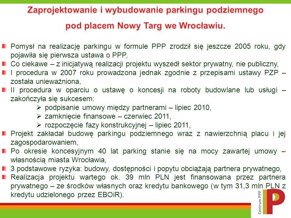 Zaprojektowanie i wybudowanie parkingu podziemnego pod placem Nowy Targ we Wrocławiu.