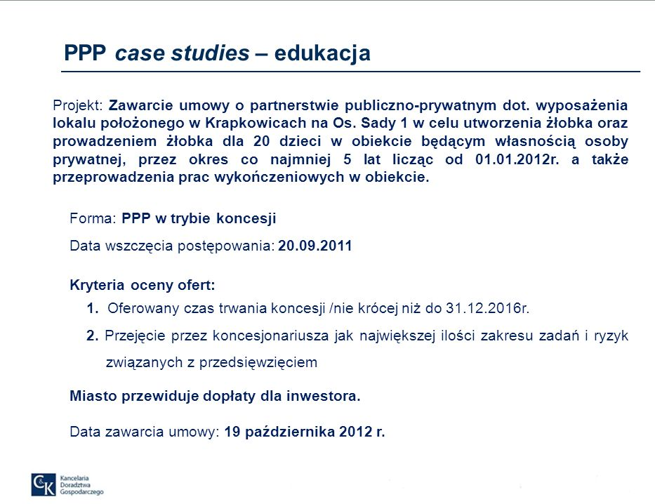 PPP case studies – edukacja