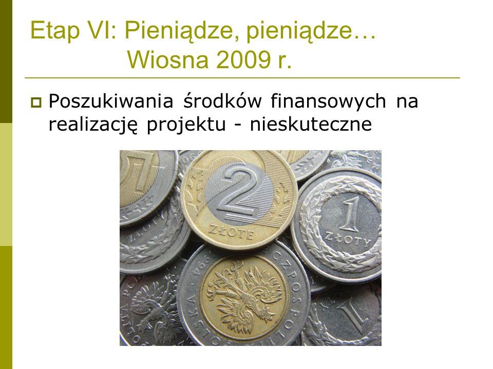 Etap VI: Pieniądze, pieniądze… Wiosna 2009 r.