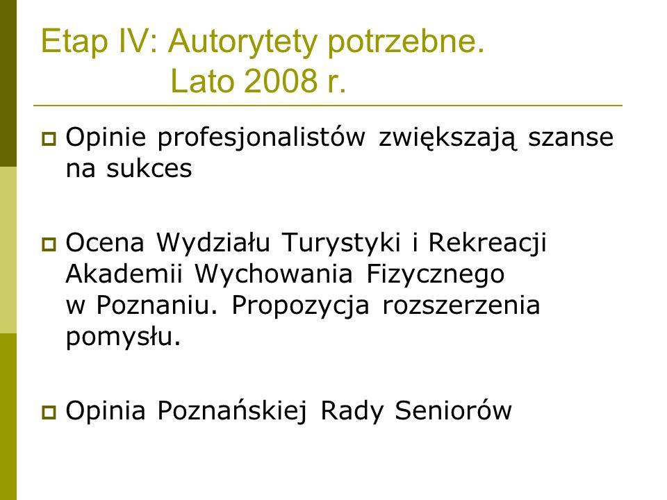 Etap IV: Autorytety potrzebne. Lato 2008 r.