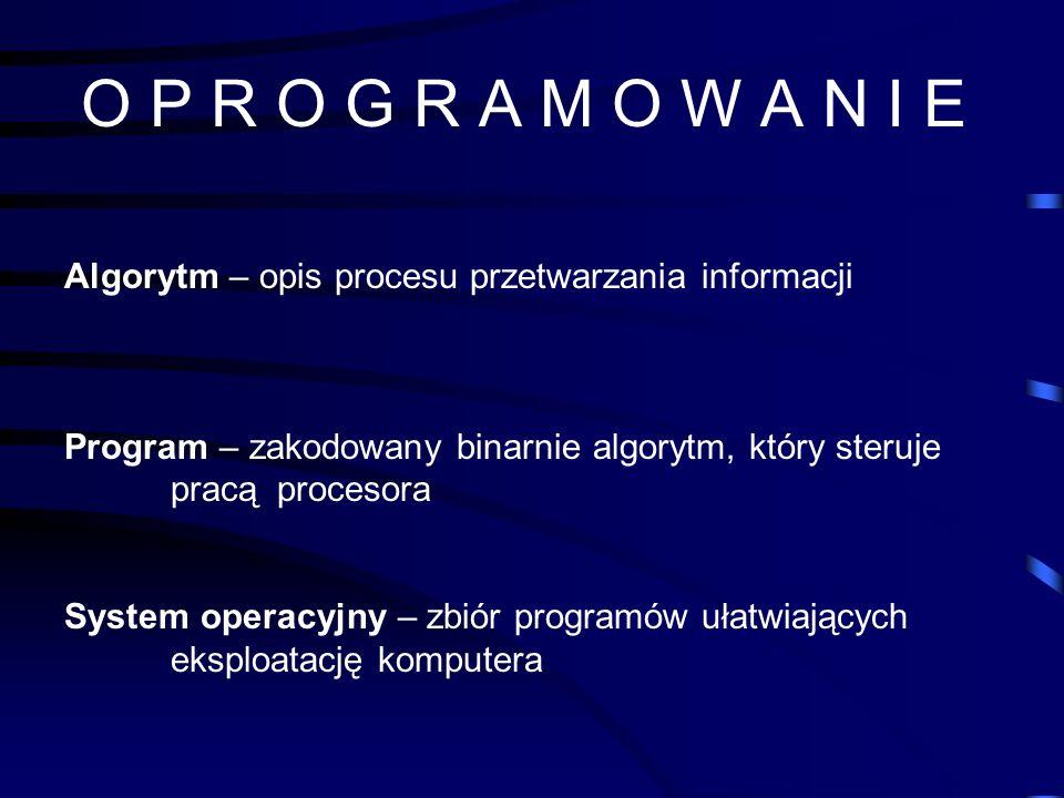 O P R O G R A M O W A N I EAlgorytm – opis procesu przetwarzania informacji. Program – zakodowany binarnie algorytm, który steruje pracą procesora.