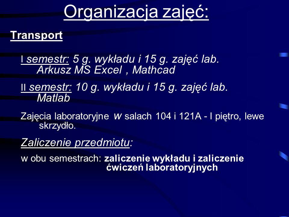 Organizacja zajęć: Transport
