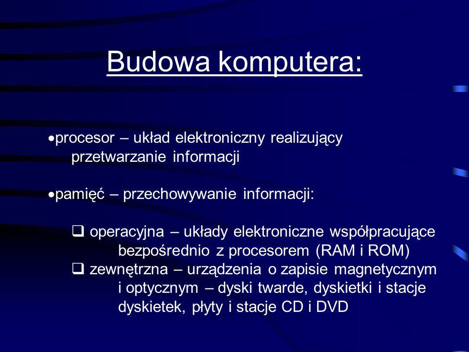 Budowa komputera:procesor – układ elektroniczny realizujący przetwarzanie informacji. pamięć – przechowywanie informacji: