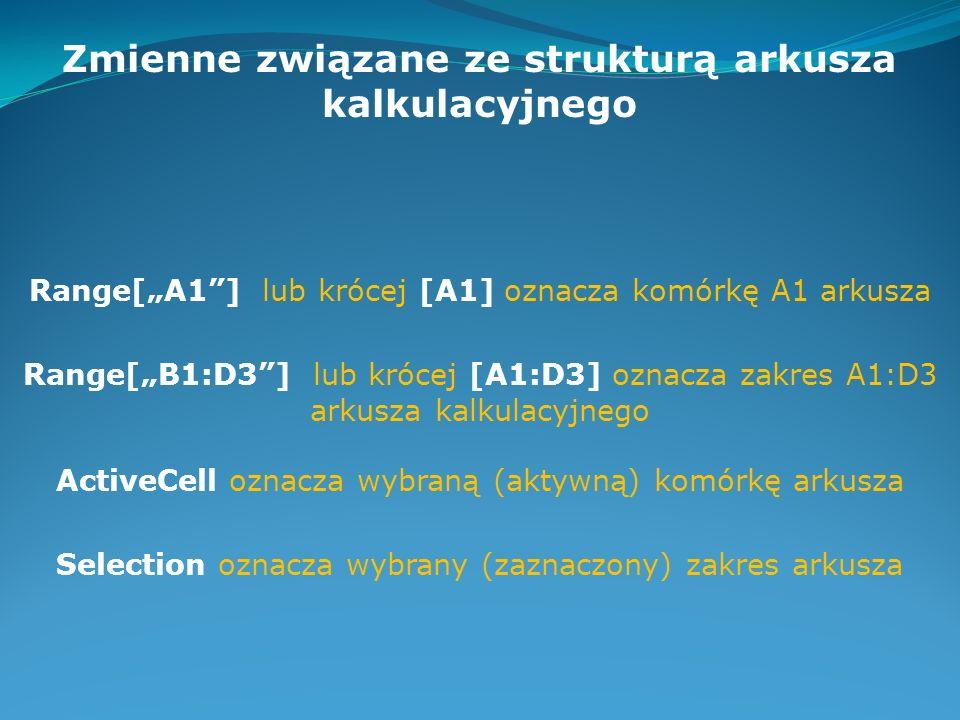 Zmienne związane ze strukturą arkusza kalkulacyjnego