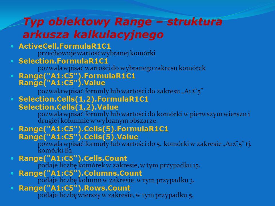 Typ obiektowy Range – struktura arkusza kalkulacyjnego