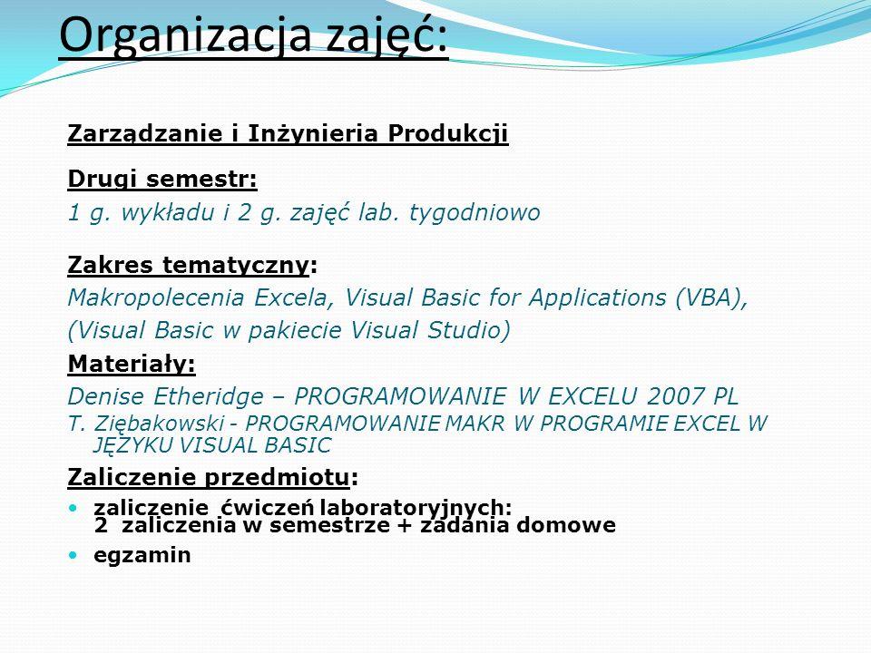 Organizacja zajęć: Zarządzanie i Inżynieria Produkcji Drugi semestr: